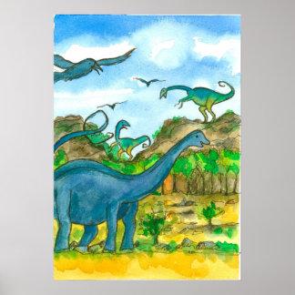 Dinosaurs Watercolor Landscape Poster
