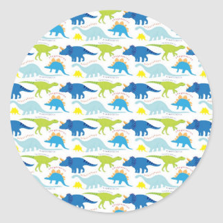 Dinosuar Designs Blue and Green Pattern Dino Gifts Round Sticker