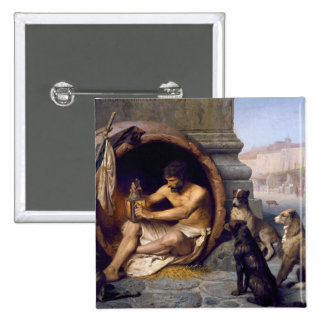 Diogenes Surrounded by Dogs - by Jean Leon Gerome 15 Cm Square Badge