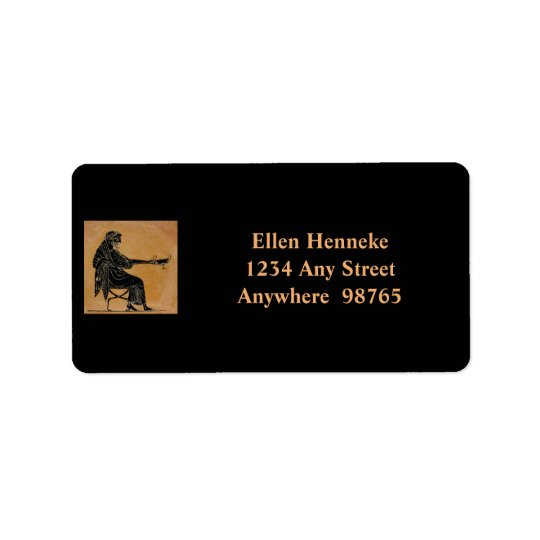 Dionysus with Wine Cup Address Label