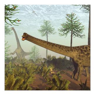 Diplodocus dinosaurs among araucaria trees - 3D re Card