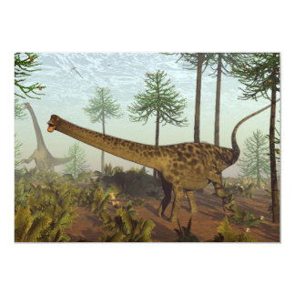 Diplodocus dinosaurs among araucaria trees - 3D re Card