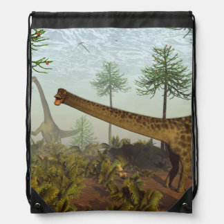 Diplodocus dinosaurs among araucaria trees - 3D re Drawstring Bag