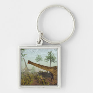 Diplodocus dinosaurs among araucaria trees - 3D re Key Ring