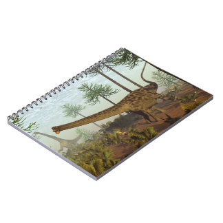 Diplodocus dinosaurs among araucaria trees - 3D re Notebook
