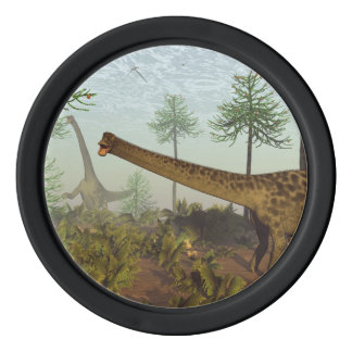 Diplodocus dinosaurs among araucaria trees - 3D re Poker Chips