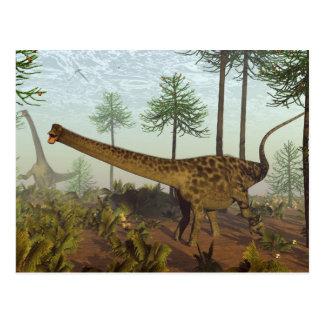 Diplodocus dinosaurs among araucaria trees - 3D re Postcard