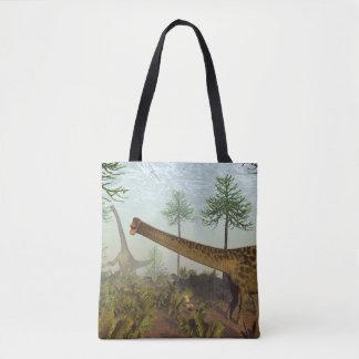 Diplodocus dinosaurs among araucaria trees - 3D re Tote Bag