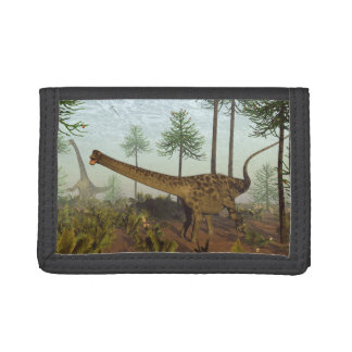 Diplodocus dinosaurs among araucaria trees - 3D re Tri-fold Wallets
