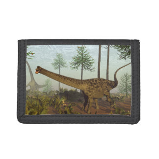 Diplodocus dinosaurs among araucaria trees - 3D re Trifold Wallet