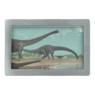 Diplodocus dinosaurs herd - 3D render Belt Buckle