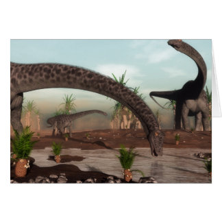 Diplodocus dinosaurs herd going to drink card