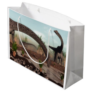 Diplodocus dinosaurs herd going to drink large gift bag