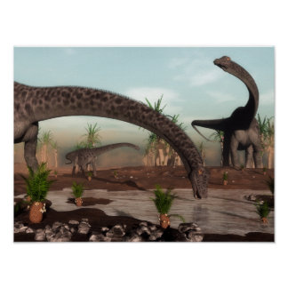 Diplodocus dinosaurs herd going to drink poster