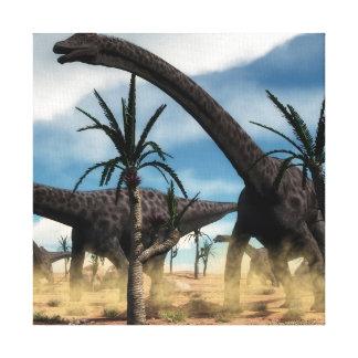 Diplodocus dinosaurs herd in the desert canvas print