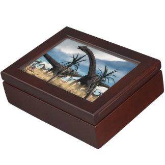 Diplodocus dinosaurs herd in the desert keepsake box