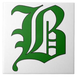 Diploma Letter B in Green Monogram Tile