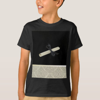 Diploma on Black with Damask Design Trim T-Shirt