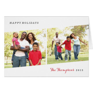 Diptych Holiday Photo Greeting Card - Berry