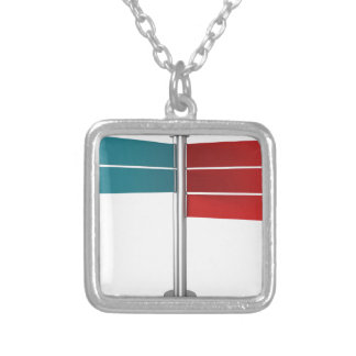 Direction signs silver plated necklace
