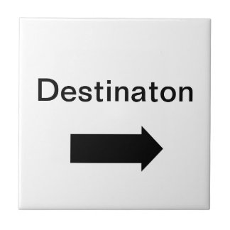 Directional arrow sign black on white ceramic tile