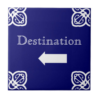 Directional sign - Spanish blue on white Ceramic Tile