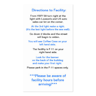 Directions to Facility in Okinawa Business Card Template