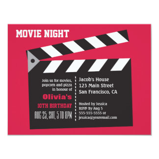 Director Board Movie Night Birthday Party 11 Cm X 14 Cm Invitation Card