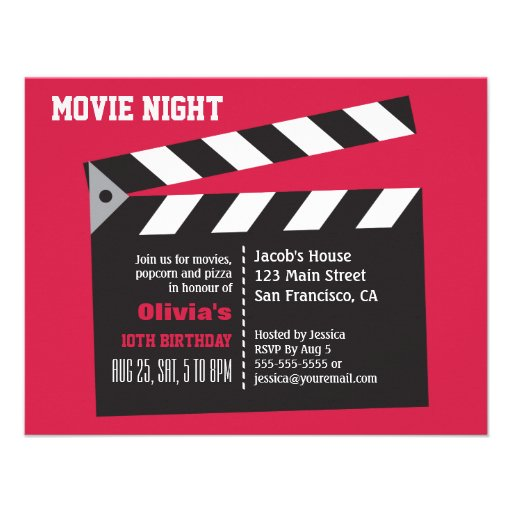Director Board Movie Night Birthday Party Personalized Invites