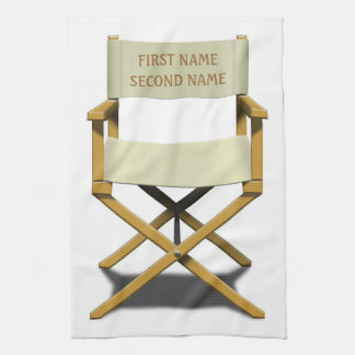 Directors chair design with your choice of name tea towel