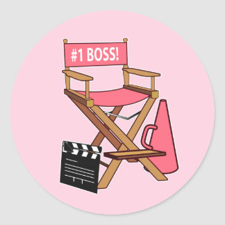 Director's Chair: Number One Boss Classic Round Sticker