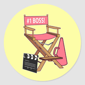 Director's Chair: Number One Boss Round Stickers