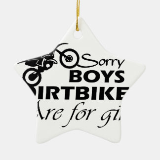 dirt bike girl ceramic ornament