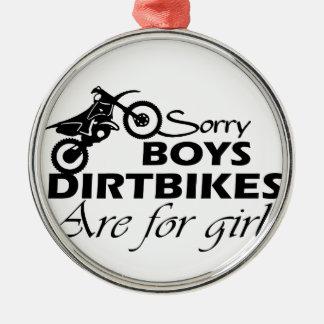dirt bike girl metal ornament