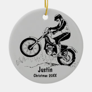 Dirt Bike Rider Ornament (silver gray)