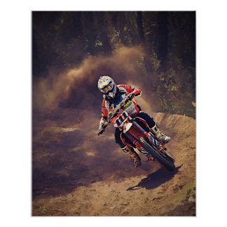 Dirt Biker Over the River and Through the Woods Poster