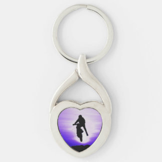Dirt Biker With Purple Sunset Silver-Colored Twisted Heart Key Ring