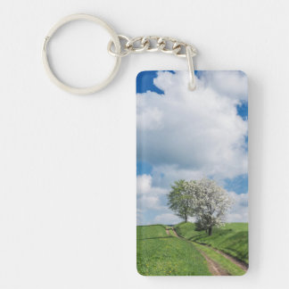 Dirt Road and Apple Trees Double-Sided Rectangular Acrylic Key Ring