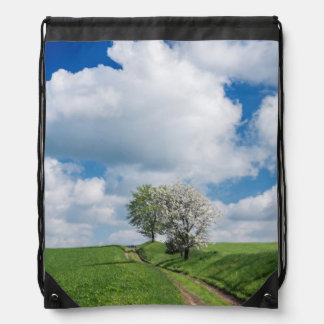 Dirt Road and Apple Trees Drawstring Bags