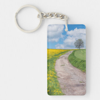 Dirt Road and Tree Double-Sided Rectangular Acrylic Key Ring
