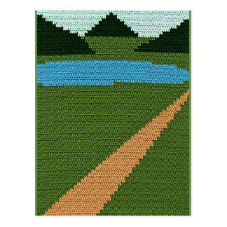 Dirt Road Country Lake Hills Green Crochet Print Postcard