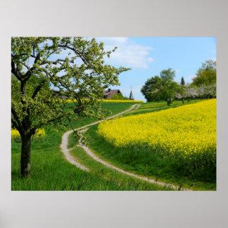 "Dirt road on rape field spring, Maulbronn ""Schmie"" Poster"