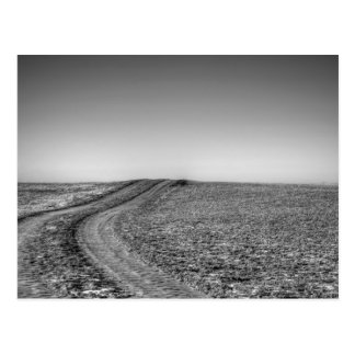 Dirt road over frosted pasture postcard