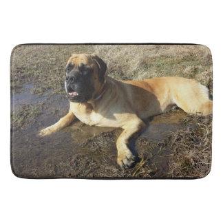 Dirty Adorable English Mastiff bath mat