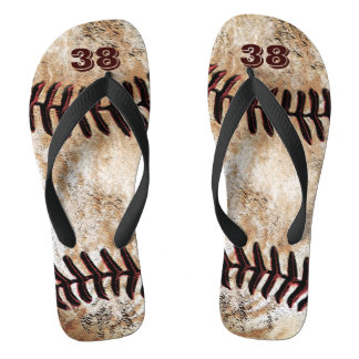 Dirty Baseball Flip Flops with Your Jersey NUMBER