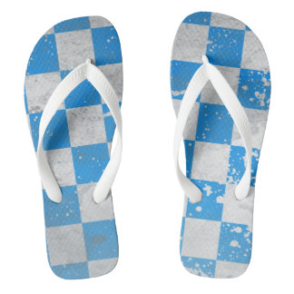 Dirty Checker Board design Light blue and white Thongs