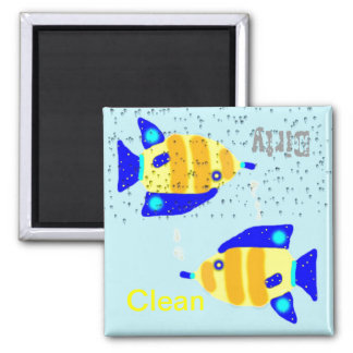 Dirty Clean Dishwasher magnets - blue yellow fish