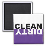 Dirty Clean Dishwasher Purple Magnet