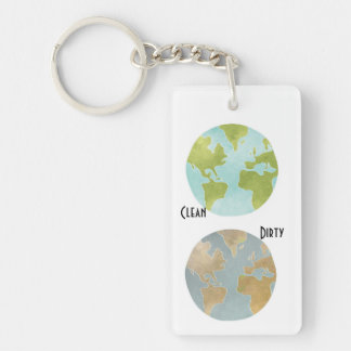 Dirty Clean Earth Keychain Single-Sided Rectangular Acrylic Keychain