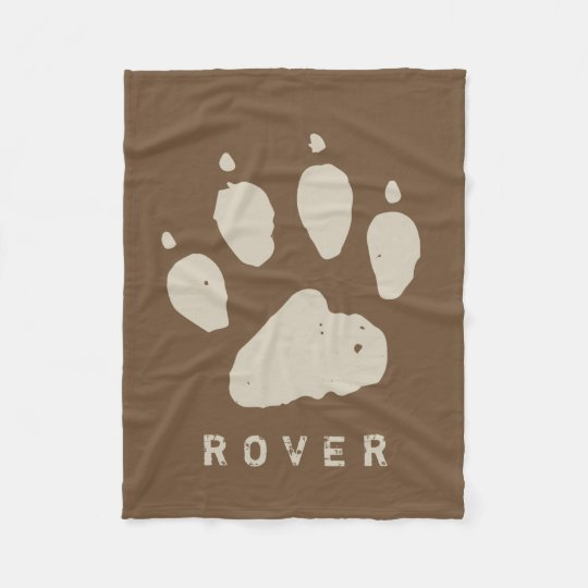 Dirty Doggie Paw Brown Custom Fleece Blanket